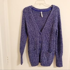 Aeropostale Blue Marled Knit Button Cardigan